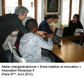 "Atelier intergénérationnel ""En tradition et innovation"" à l'association Mosaïque 9"