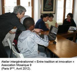 Atelier intergénérationnel dans une association