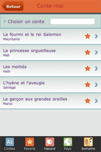 Application Iphone Conte-moi : page des favoris